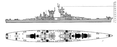 Schematic diagram of Alaska class large cruiser