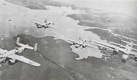 Combat photograph of aircraft over Bougainville