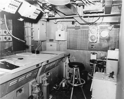 Photograph of cruiser combat information center ca. 1944