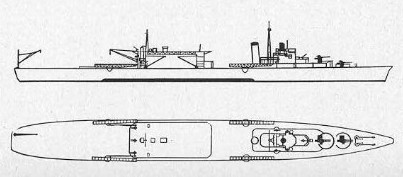Diagram of seaplane carrier Chitose