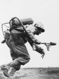 Photograph of Marine on Iwo Jima with flamethrower