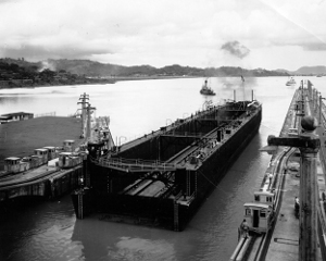 Photograph           of ARD-1 under tow through Panama Canal