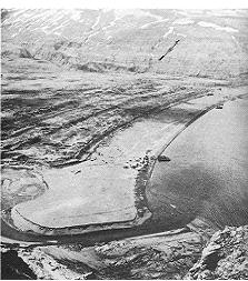 Oblique aerial photograph of Holtz Bay, Attu Island
