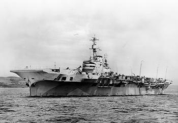 Photograph of HMS Implacable, British aircraft carrier