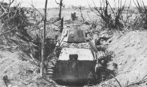 Photograph of dug in Japanese tank