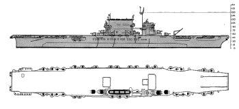 Schematic diagram of Lexington class fleet carrier