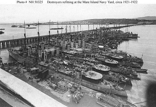 Photograph of destroyers refitting at Mare Island