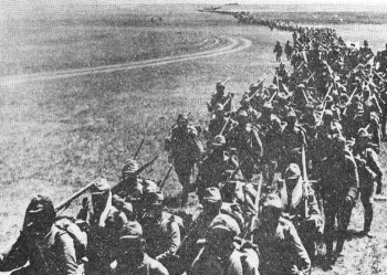 Japanese troops march on Nomonhan