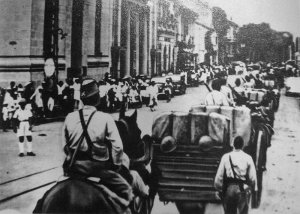 Photograph of Japanese troops entering Saigon