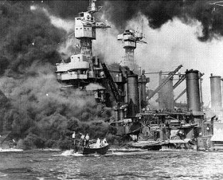 Photograph of battleship West Virginia at Pearl Harbor