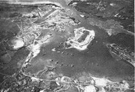 Aerial photograph of       Pearl Harbor before the attack