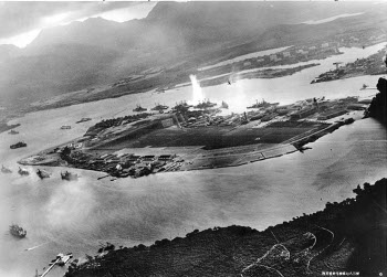 Photograph of initial moments of Pearl Harbor attack