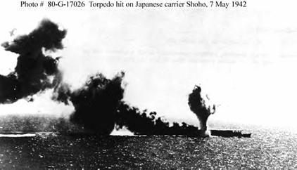 Photograph of Japanese carrier Hosho under         attack